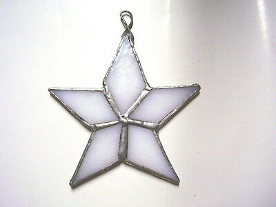 Stained Glass White Hanging Window House Ornament Star