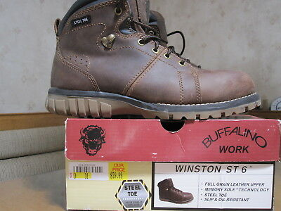 Buffalino WINSTON steel toe work shoe/ boot MEN'S Size 9M-LEATHER upper -EXCELL