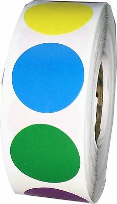 Multi Color Circle Dot Stickers, 3/4 Inch Round Labels, 500 Labels on a Roll