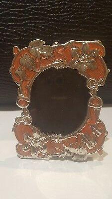 Pretty Small Silver Photo Frame - Burnt Orange Detailing.