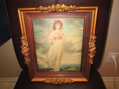 "Vintage Roses Wood Gesso Frame 8"" x Pink Girl Gainsborough Shadow Box Photo"