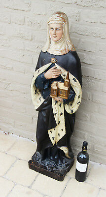 """Antique XXL 41""""  19thc wood carved SAINT HELENA Church statue Rare cathedral"""