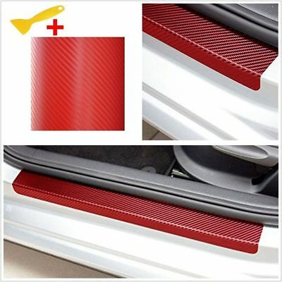 4Pcs Sill Scuff Cover Anti Scratch Car Door Plate Sticker 3D Carbon Fiber Look