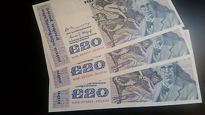 3 consecutive 20 pounds aUNC Ireland Yeats Eire 20-10-1981 P73a FIRST SIGN