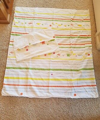 IKEA Crib Toddler Duvet Cover and Pillow Case. Animals and Stripes EUC