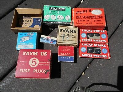 Vintage cardboard advertising boxes - Faym-US, Puffy, Ideal, Lucky Strike, Evans