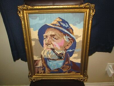 """Antique Wood Gesso Frame 14"""" x 18"""" Needlework Sailor for Painting Photograph"""