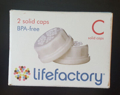 Lifefactory 2 Solid Caps White BPA-free C Solid Caps