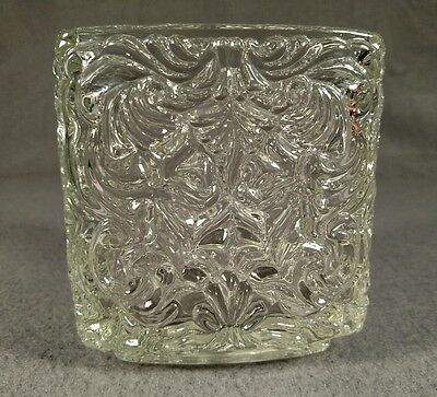 Vintage Avon Heavy Glass Triangle Vase Candle Holder 4""
