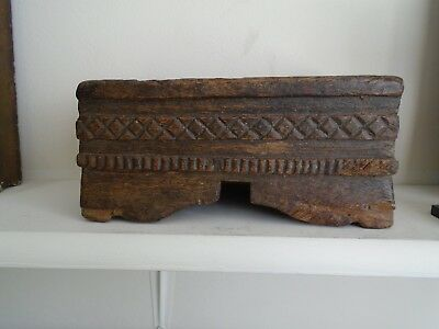 antique box treen carved wood very old interesting vintage collectable