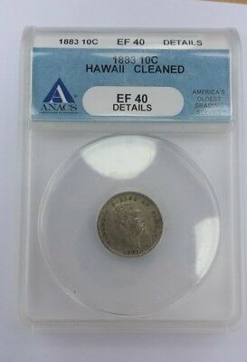^ 1883 10C EF 40 Hawaii Dime ANACS Graded Certified