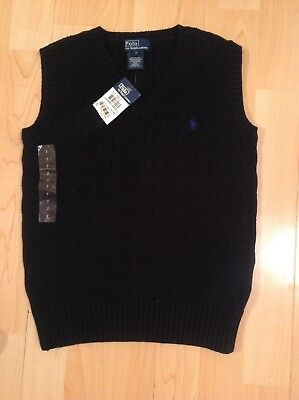 Polo Ralph Lauren Boy's Black Cable Knit Tank Top 7 Years BNWT