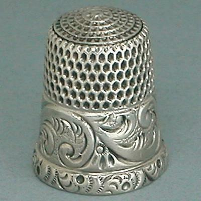 Antique Sterling Silver Scroll Band Thimble by Simons Brothers * Circa 1900