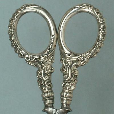Small Antique English Sterling Silver Embroidery Scissors * Circa 1890s