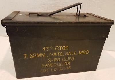 Vintage Ammo Box 432 CTGS 7.62mm, NATO, BALL, M80 8-RD Clips Bandoleers Used