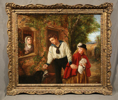 19th Century Antique European Genre Painting With Figures Children Boy and Girl