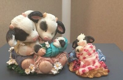 2 Mary's Moo Somebody Brand Moo baby 319112 cow couple w/baby figurines 207128L