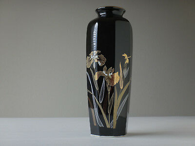 "Japanese Vase 10 3/4"" Glossy Black With Gold Lillies Made In Japan 1980's"
