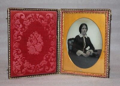 Antique Ambrotype, Portrait of a Lady in Victorian Dress, Tooled leather case