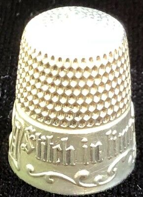 THIMBLE Antique Simons - A Stitch in Time Saves Nine Sterling Silver Thimble