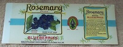 25 Vintage Rosemary Maine Blueberries can labels...Older version