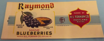 25 Vintage Raymond Brand Maine Blueberries can labels..Portland,Maine
