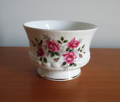Royal Minster Open Sugar Bowl 45 Pink Rose Gold Trim Fine Bone China England