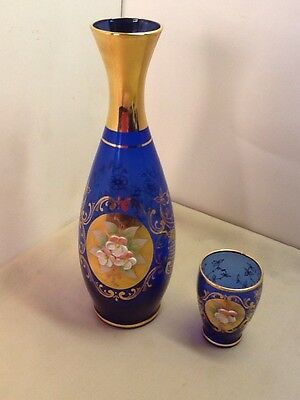 Blue Glass Decanter Vase & 1 Shot Glass Blue glass Gold trim Handpainted Flowers