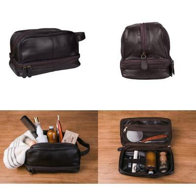 d1a5a1c9bdb Morocco Genuine Leather Toiletry Bag Shaving Kit Travel Case For Men Dark  Brown