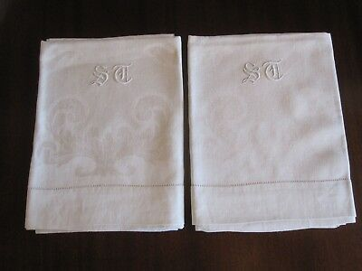 Pair Fine Antique Edwardian White Huck Linen Damask Towels W/ Monogram Exc Cond