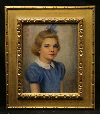 19th Century Antique Painting Young Beautiful Girl  Realistic Style