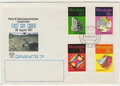 Rhodesia 1971 Geology, Granite Set on First Day Cover