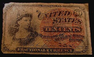 """1869 Ten Cent Fractional Currency """"Lady Liberty"""""""