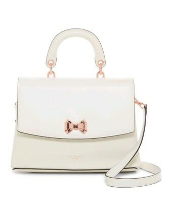 e88c01b327e39 Ted Baker London- Women s Begonia Curved Bow Lady Bag Ivory Leather -  295  - NWT