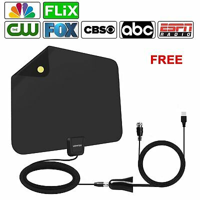 60~80 Mile Range Amplified HDTV Antenna with Detachable Signal Booster 4K/HD/VHF