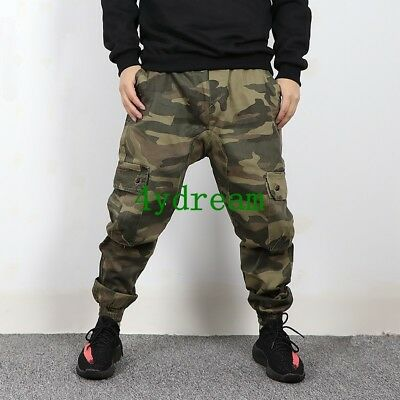 5XL Mens Camo Harem Pants Loose Overalls Cargo Casual Skinny Cotton Trousers S86