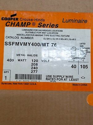 NEW SSFMVMY400/MT Crouse Hinds 400W MH SS Fixture