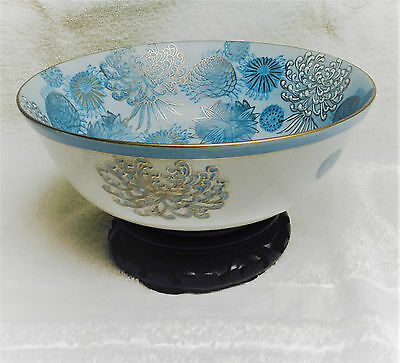 "Japanese Kutani 8-1/4"" Bowl Decorative Blue Gold Chrysanthemums Kiku + Stand"