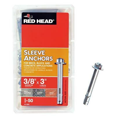 Red Head  3/8 in. x 3 in. Zinc-Plated Steel Hex Head Sleeve Anchors (35-Pack)