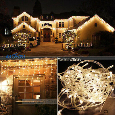 Warm 96-1000 LED Christmas String Fairy Xmas Indoor/Outdoor Icicle Curtain Light