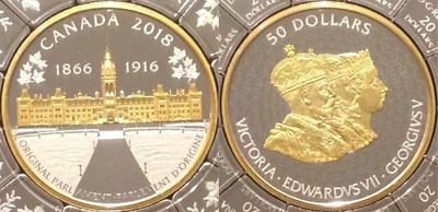 2018 Puzzle Piece Canada History Parliament Buildings $50 Silver Coin 1866-1916