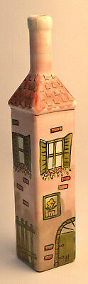 Wine Bottle Hand painted Colorful Arts  Pottery  Windows Floral Country Scenes