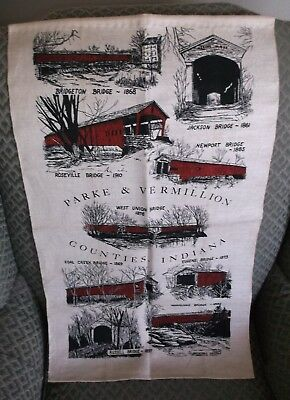 vintage Indiana Covered Bridge themed Collectible Linen