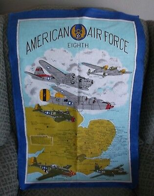 Vintage Collectible Linen : American 8th. Air Force - War Planes & Map