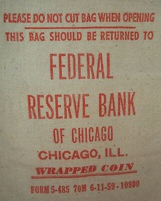 vintage Bank Bag : Federal Reserve Bank of Chicago (red print)