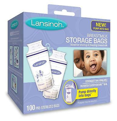 Breastmilk Storage Bags Lansinoh 100 Count BPA and BPS Free Pump Into Bag