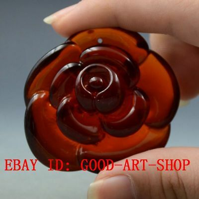 21.6g 100% Natural Blood Red Burmite Amber Stone Hand-carved Peony Pendant G14
