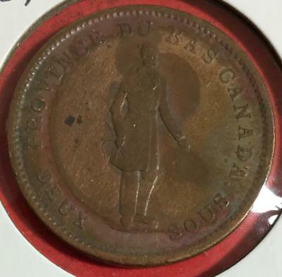 """1837 Canada """"MONTREAL"""" LARGE CENT! Old Canadian Coin"""