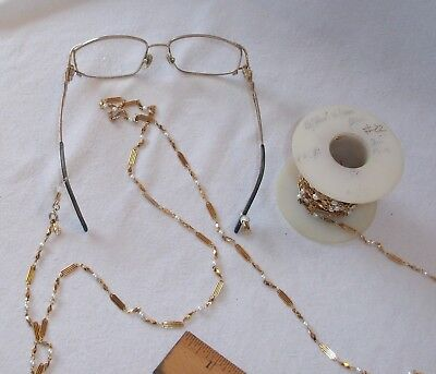 """24Kt Gold Plated Fashion Chain With Faux Pearls Eye Glass Holder - 30"""" Long"""