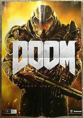 DOOM Double-sided A2 Poster + 3 Collector Postcards Video Game Merchandise *NEW*